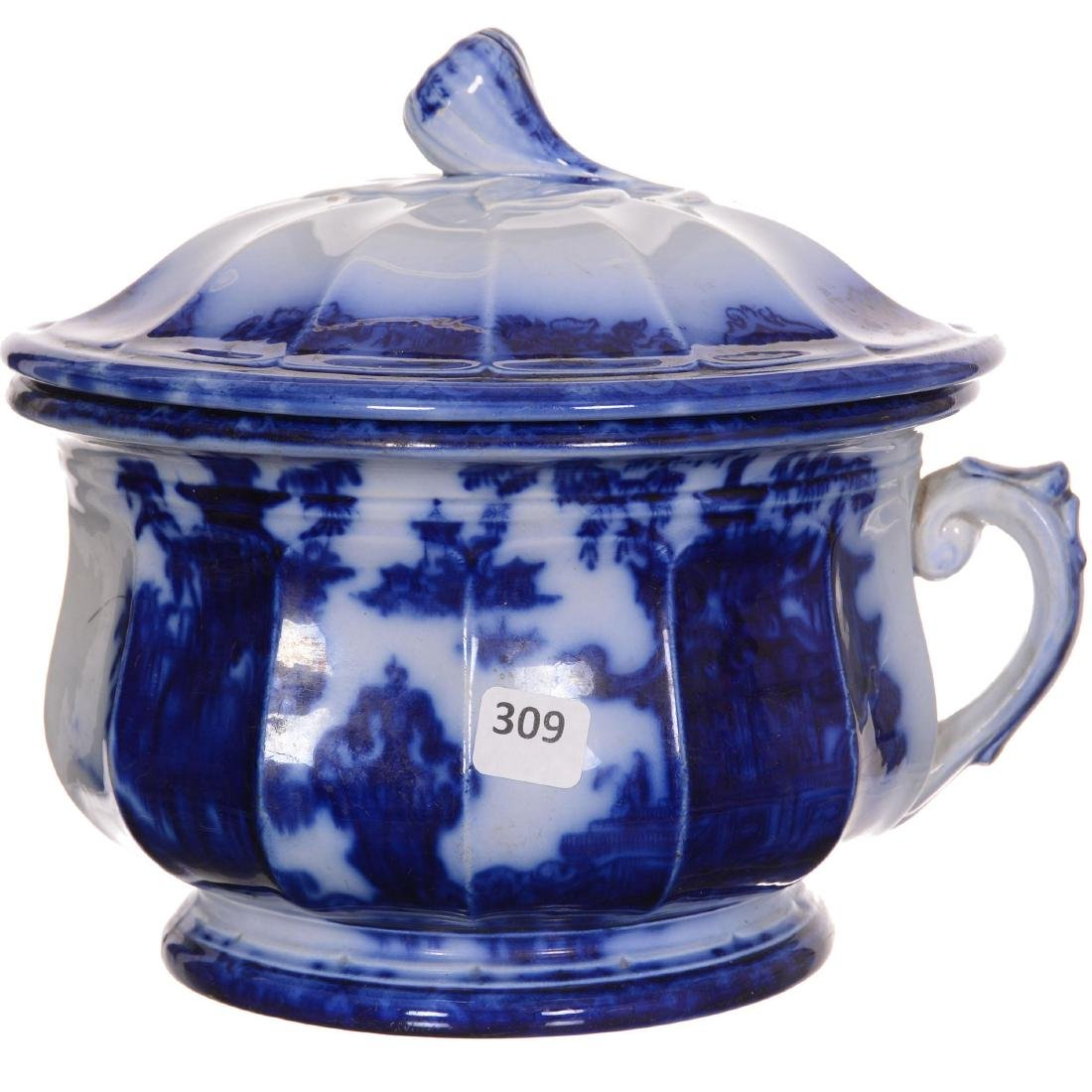 Flow Blue the Temple Pattern Covered Chamber Pot - 2