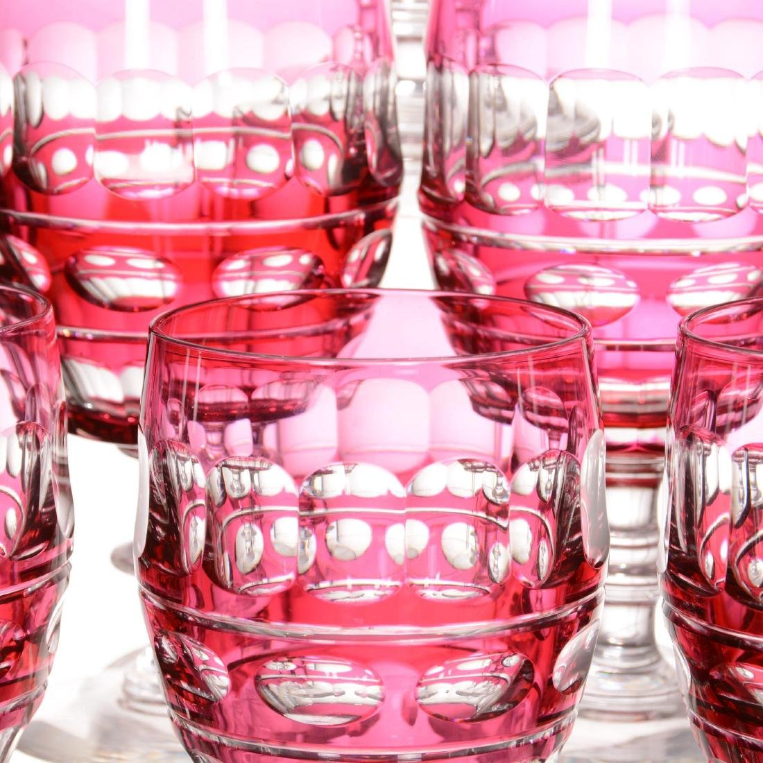 (6) Cranberry Cut to Clear Water Goblets - 2