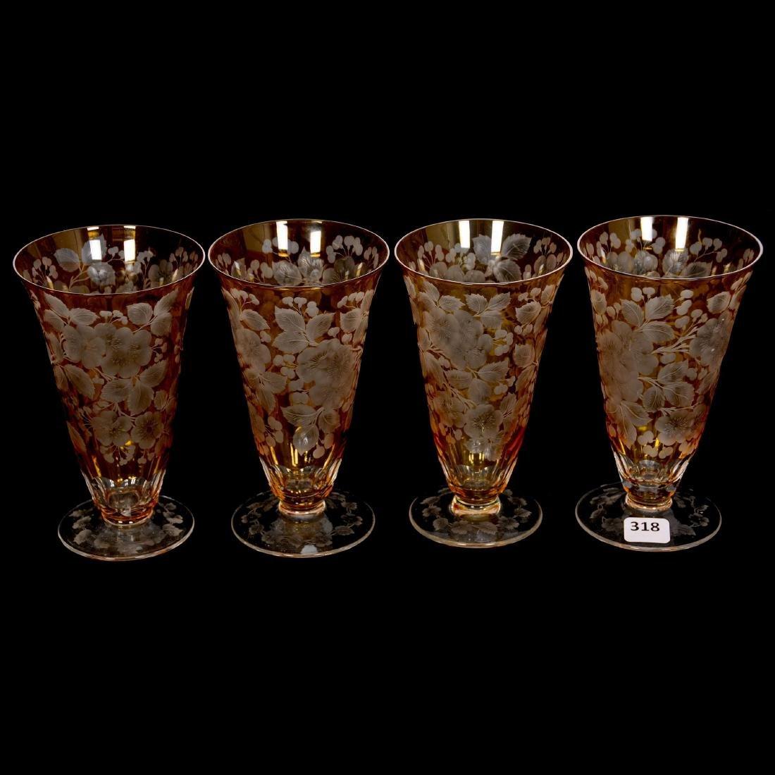 (4) Amber Parfait Glasses