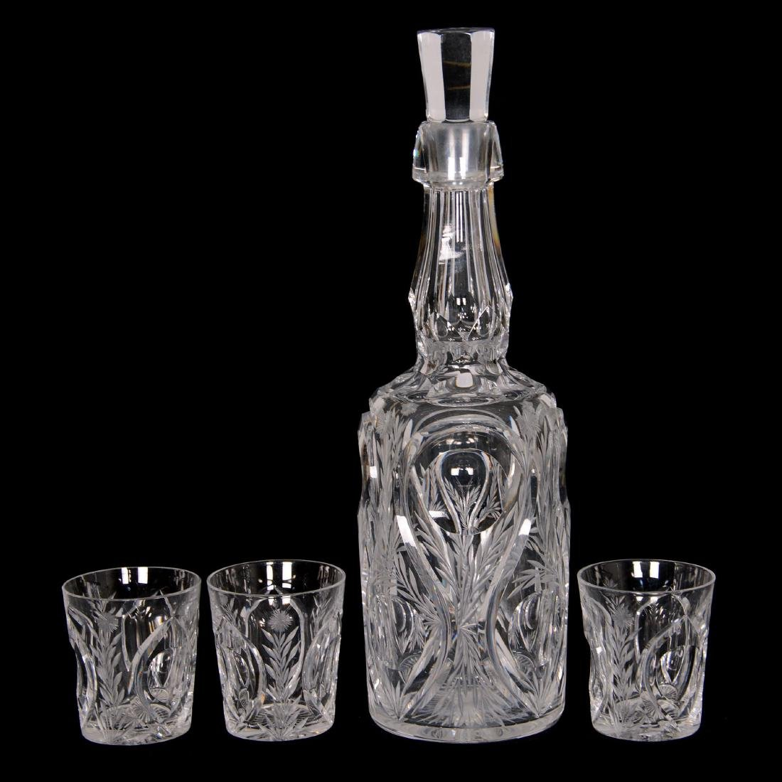 Whiskey Bottle and (3) Shot Glasses - ABCG