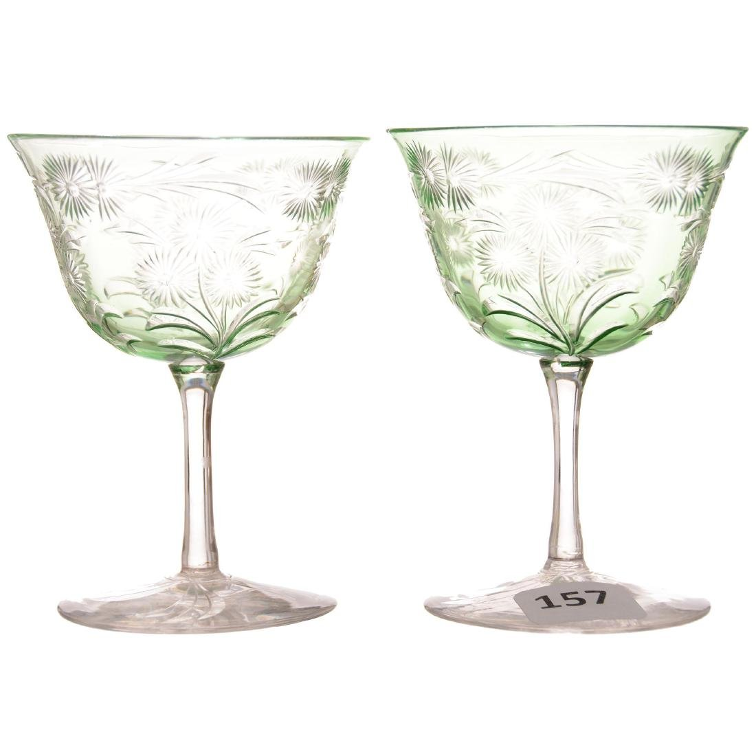 (2) Green Cut to Clear Cocktail Glasses