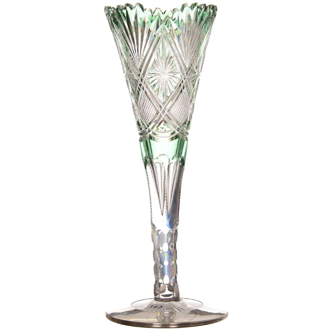 Green Cut to Clear Trumpet Vase