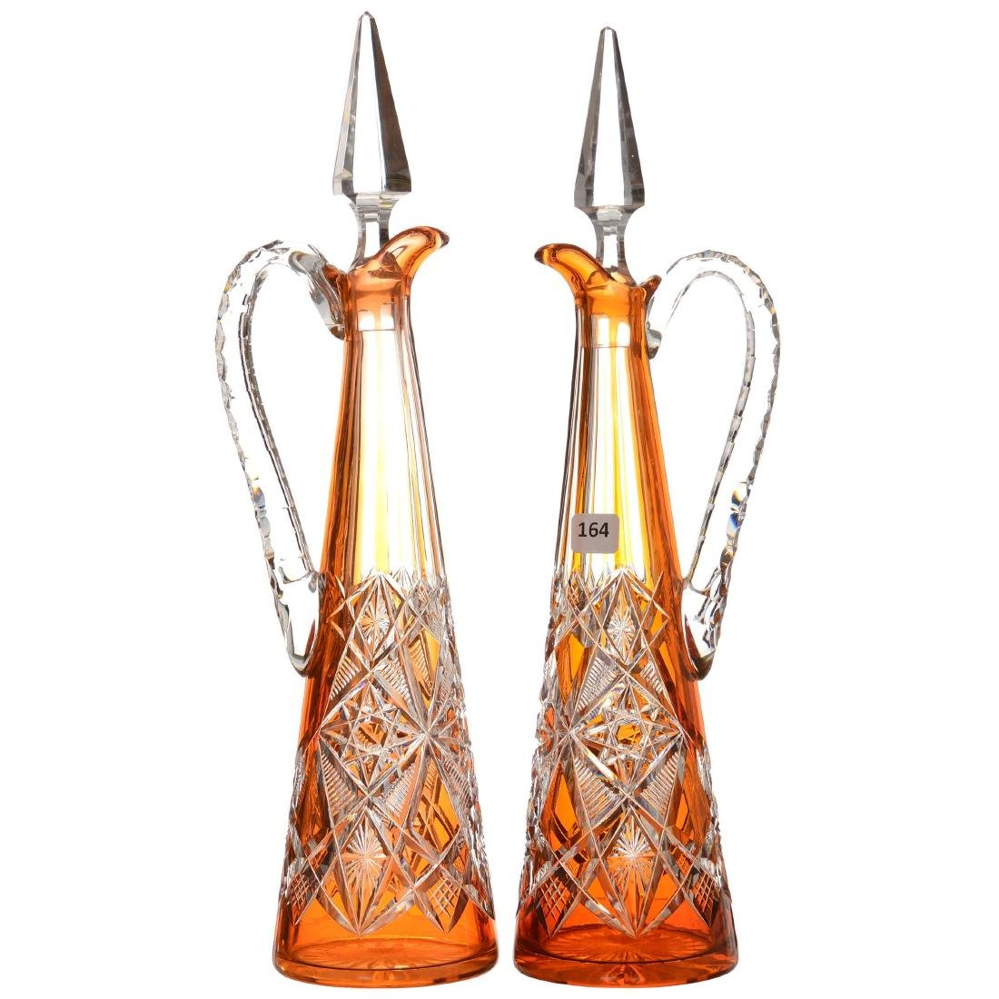 (2) Handled Apricot Cut to Clear Decanters