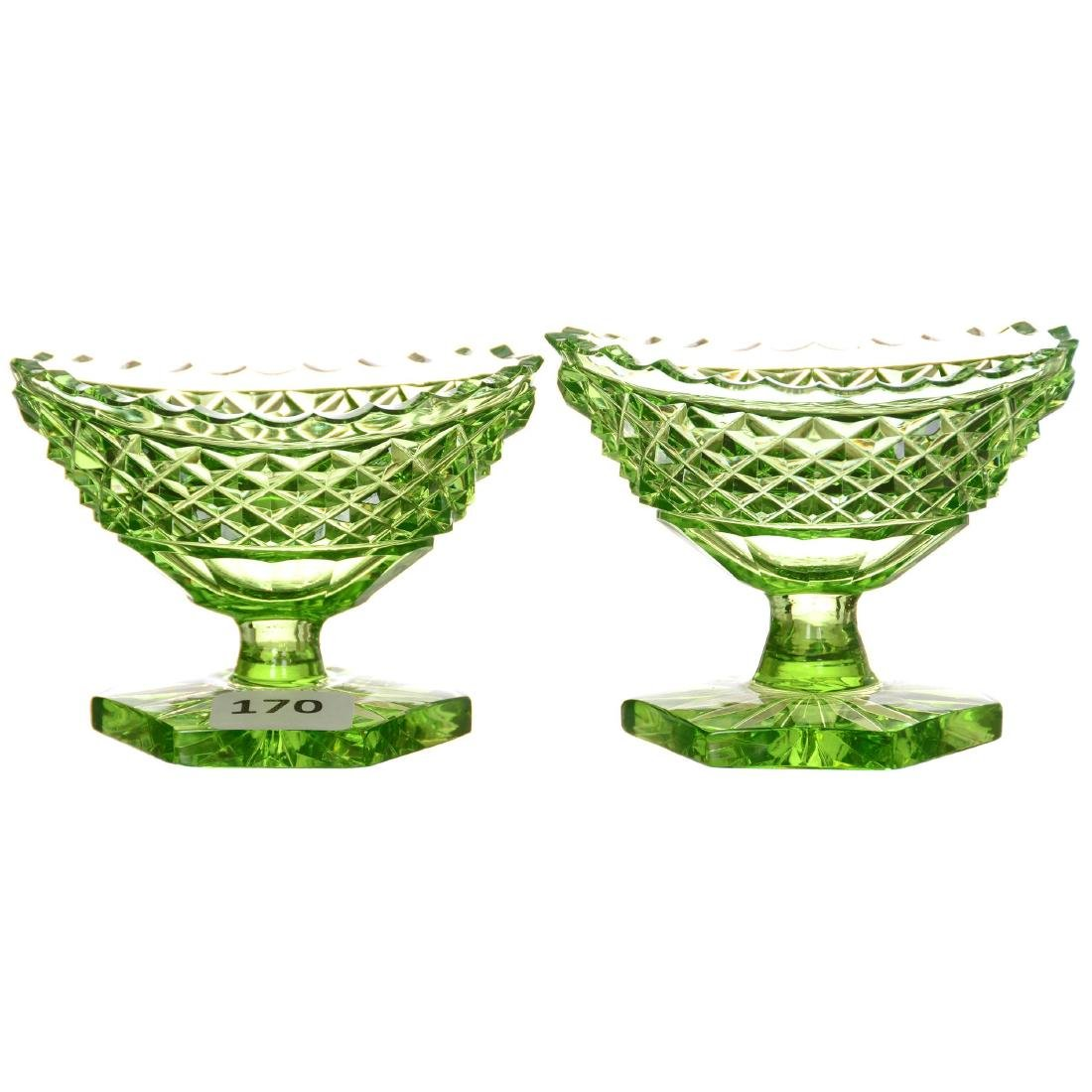 Pair Solid Apple Green Pedestal Salt Dips - ABCG
