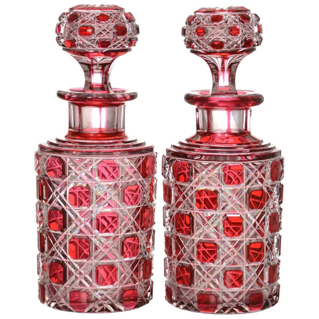 Pair Cranberry Cut to Clear Cologne Bottles