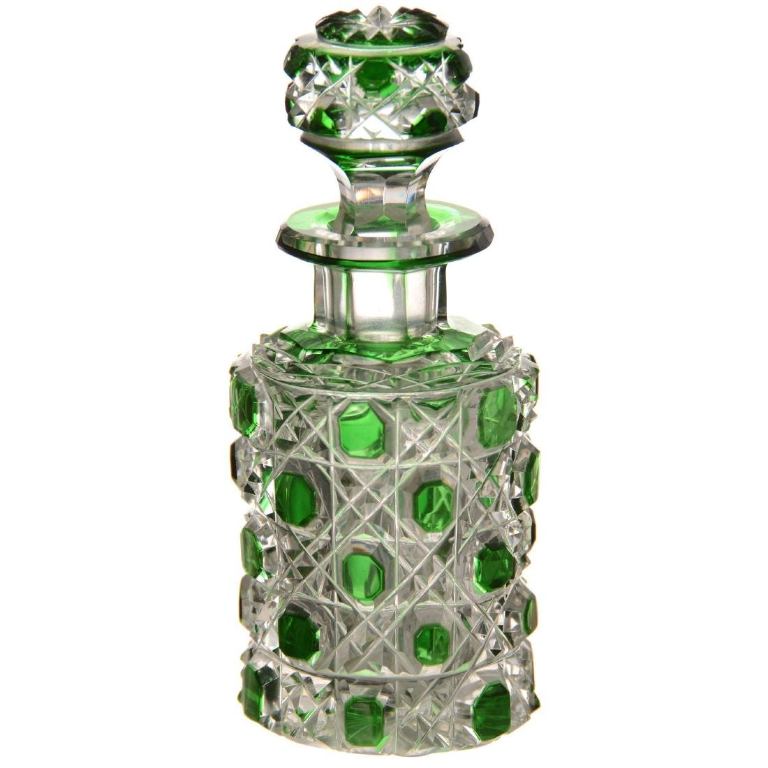 Green Cut to Clear Perfume Bottle