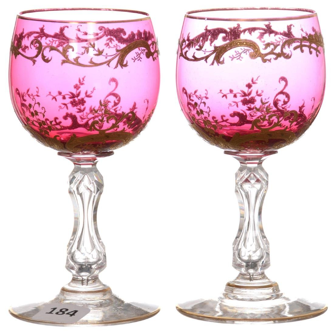 (2) Cranberry Wine Glasses