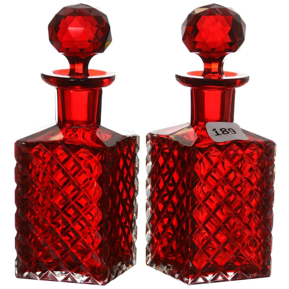 Pair Solid Cased Selenium Red Cologne Bottles
