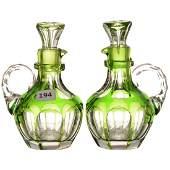Pair Green Cut to Clear Cruet Bottles - ABCG