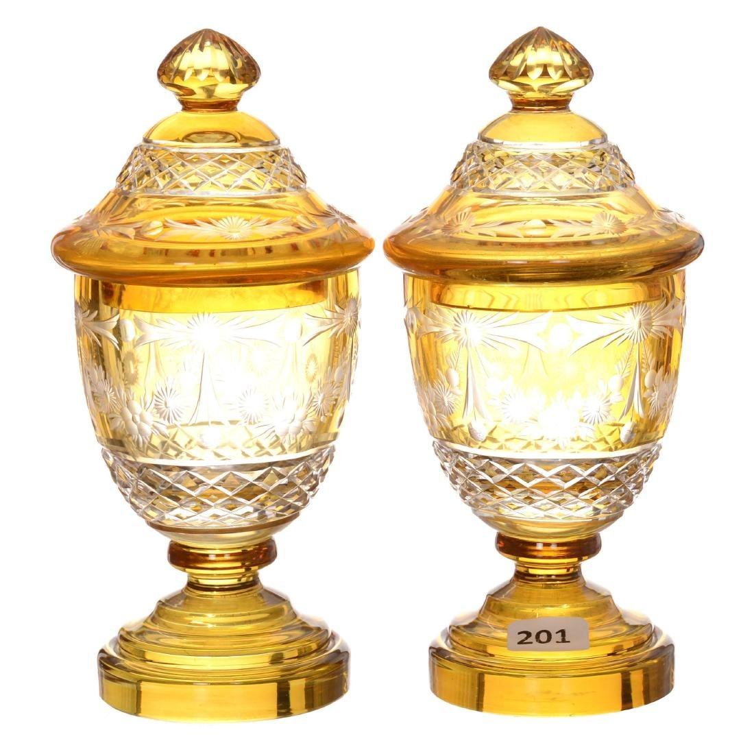 (2) Amber Cut to Clear Covered Pedestal Urns
