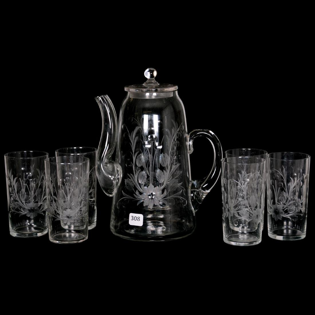 Ice Tea Pot and (6) Glasses - ABCG