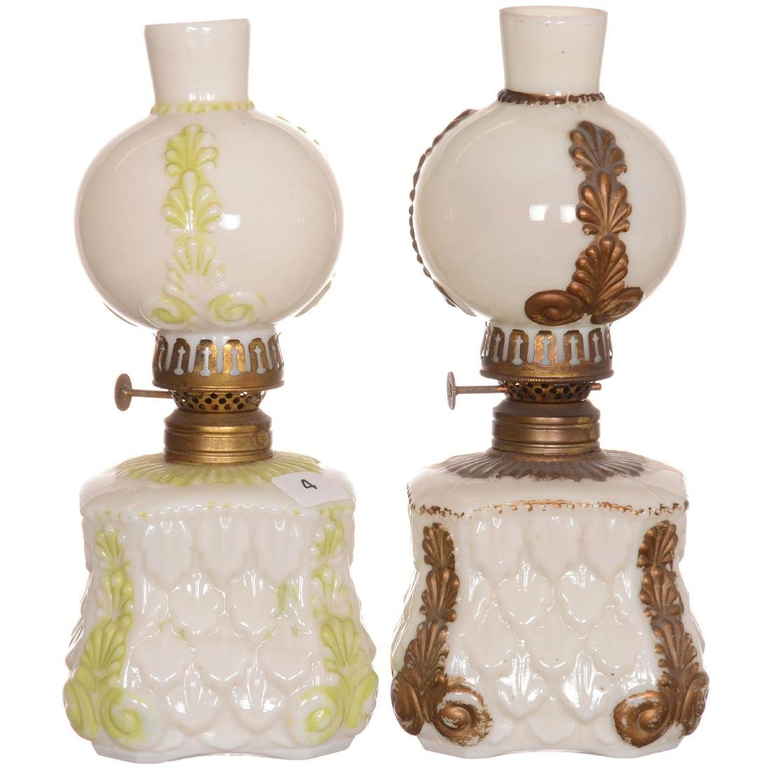(2) Miniature Milk Glass Lamps