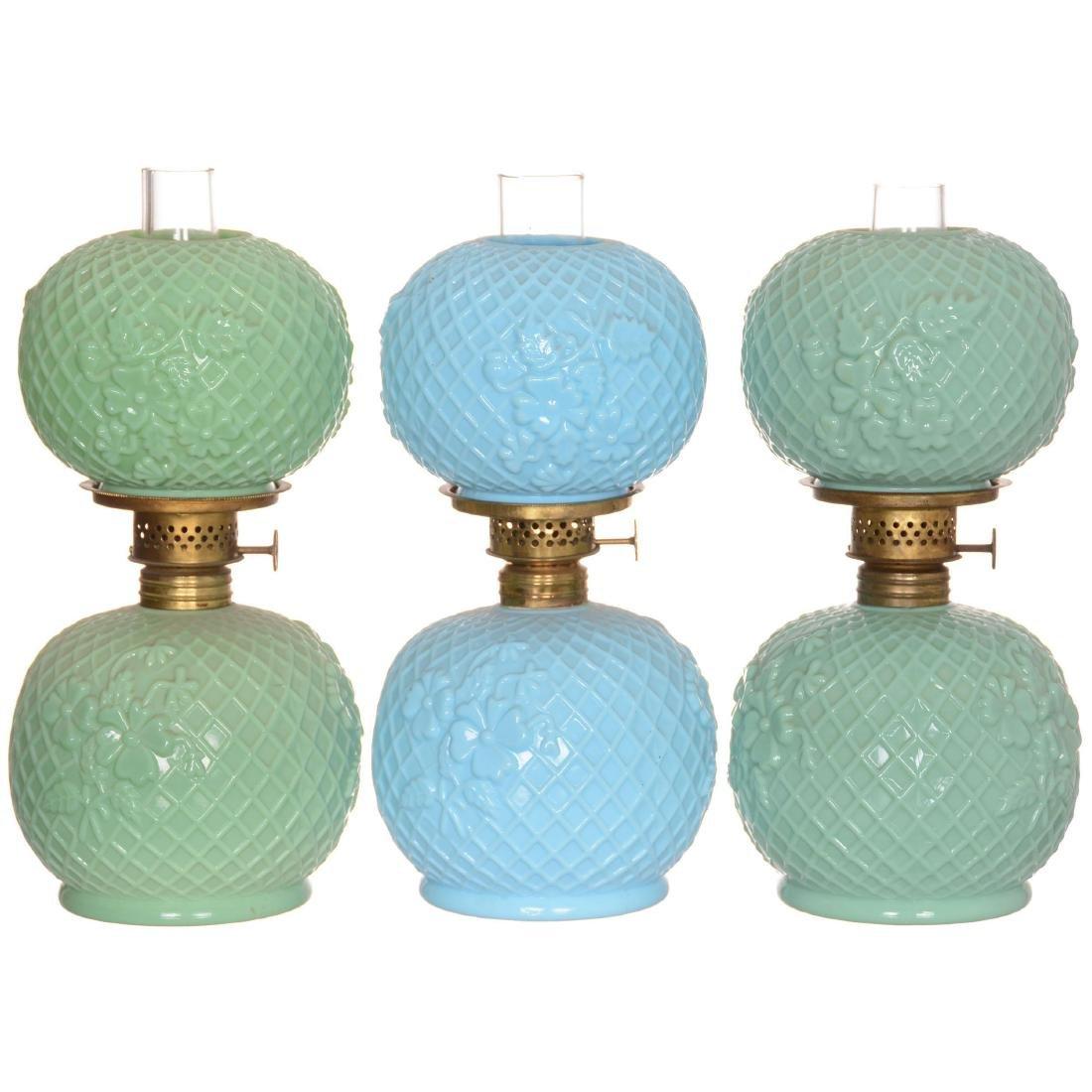 (3) Miniature Art Glass Lamps