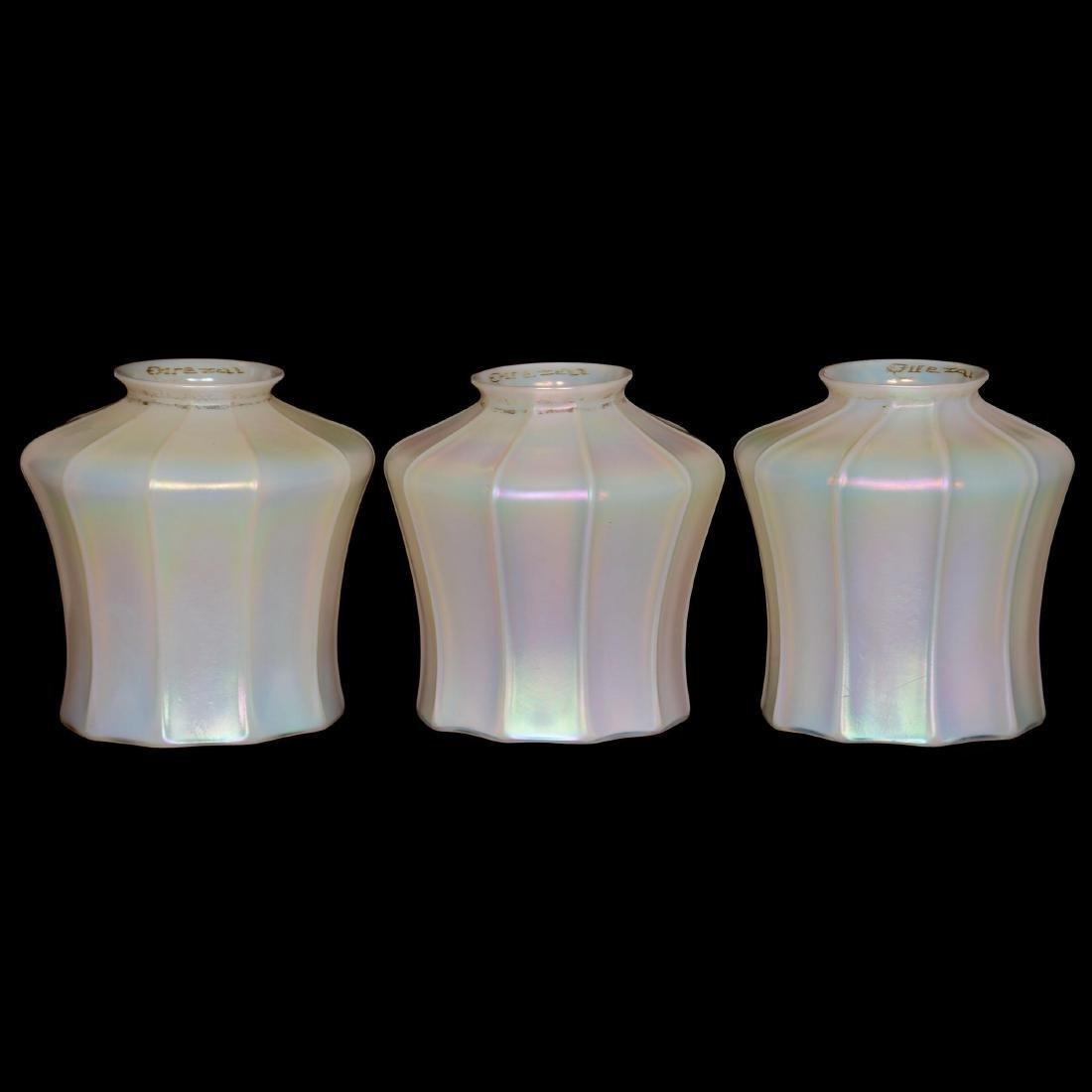 (3) Signed Quezal Art Glass Shades