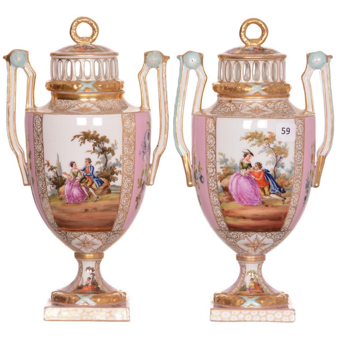 (2) Marked Dresden Pedestal Covered Urns