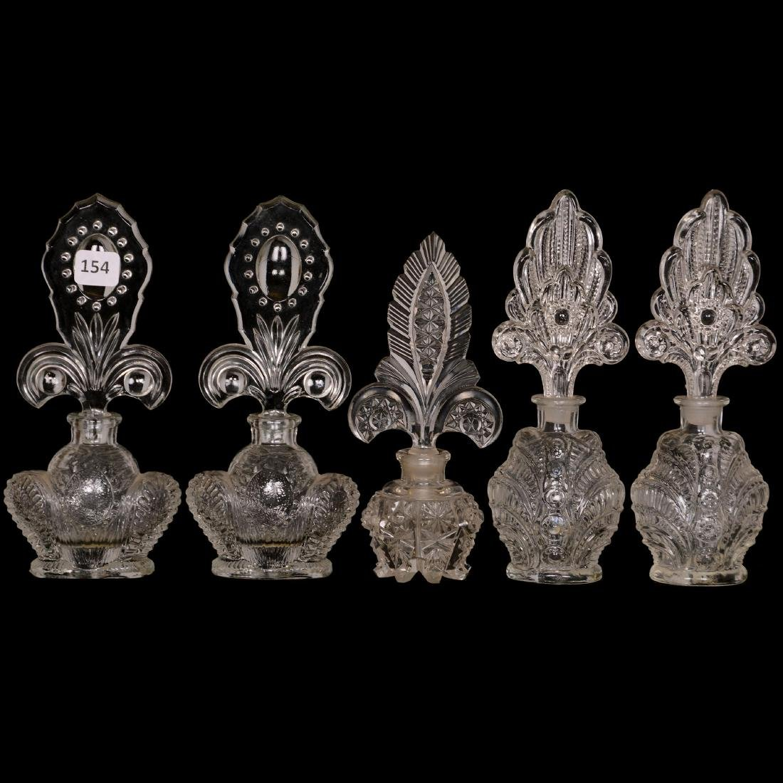 (5) Clear Pattern Glass Perfumes
