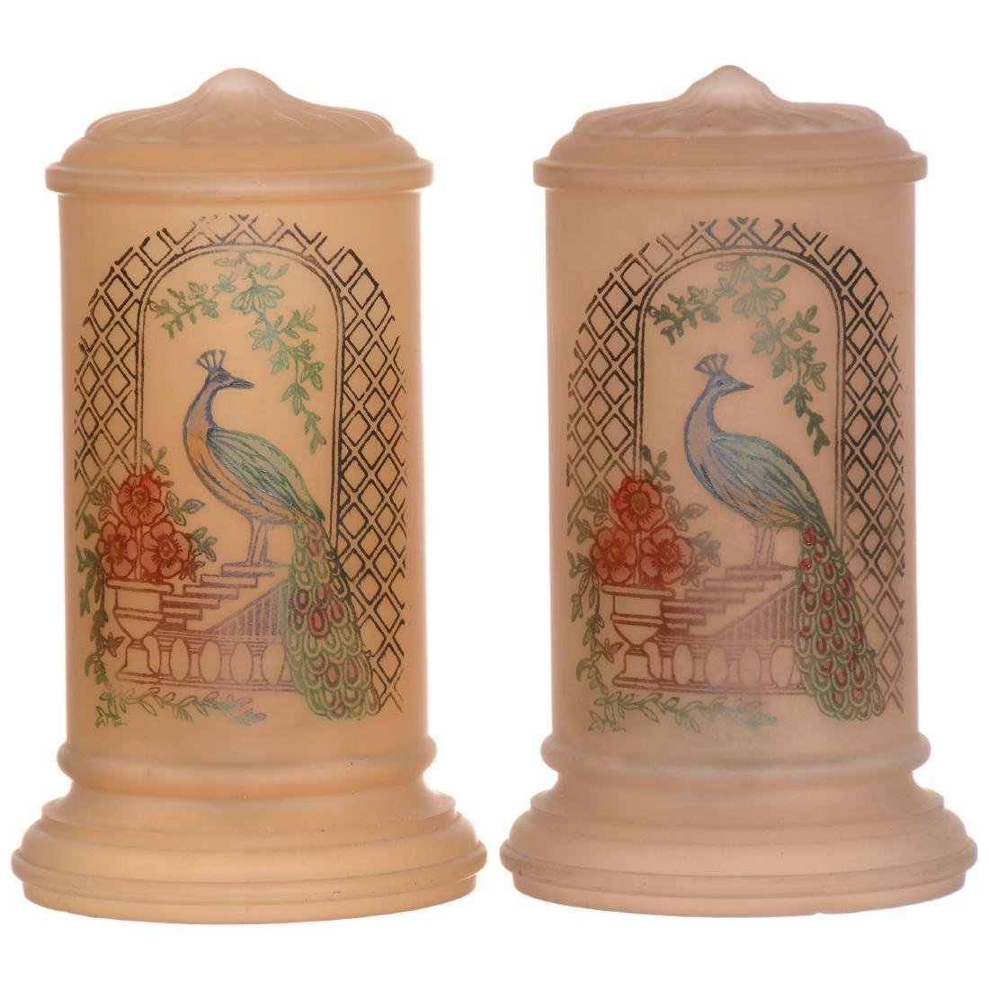 Pair Cylinder Boudoir Lamps