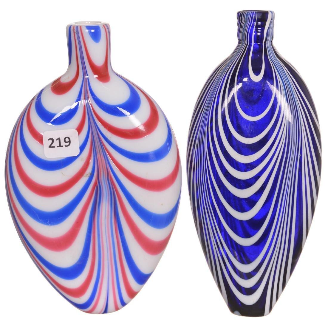 (2) Nailsea Art Glass Flasks