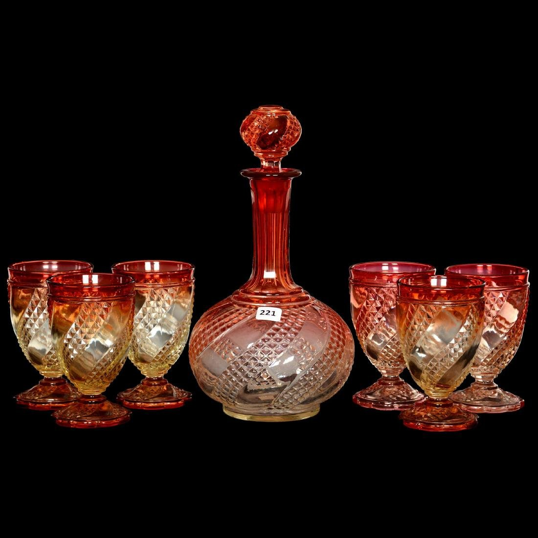 Baccarat Rose Tiente Decanter Set