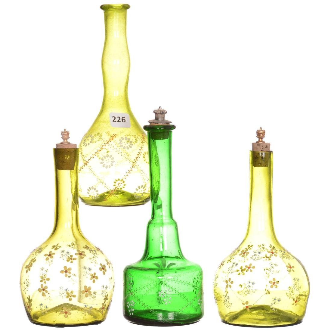 (4) Green Art Glass Barber Bottles