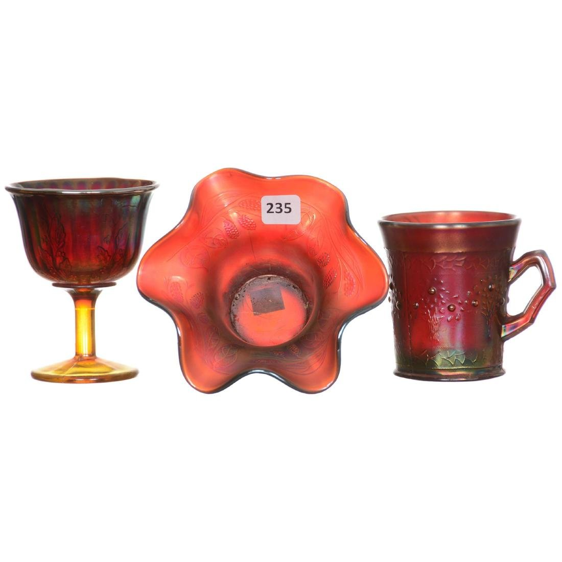 (3) RED Carnival Glass Items