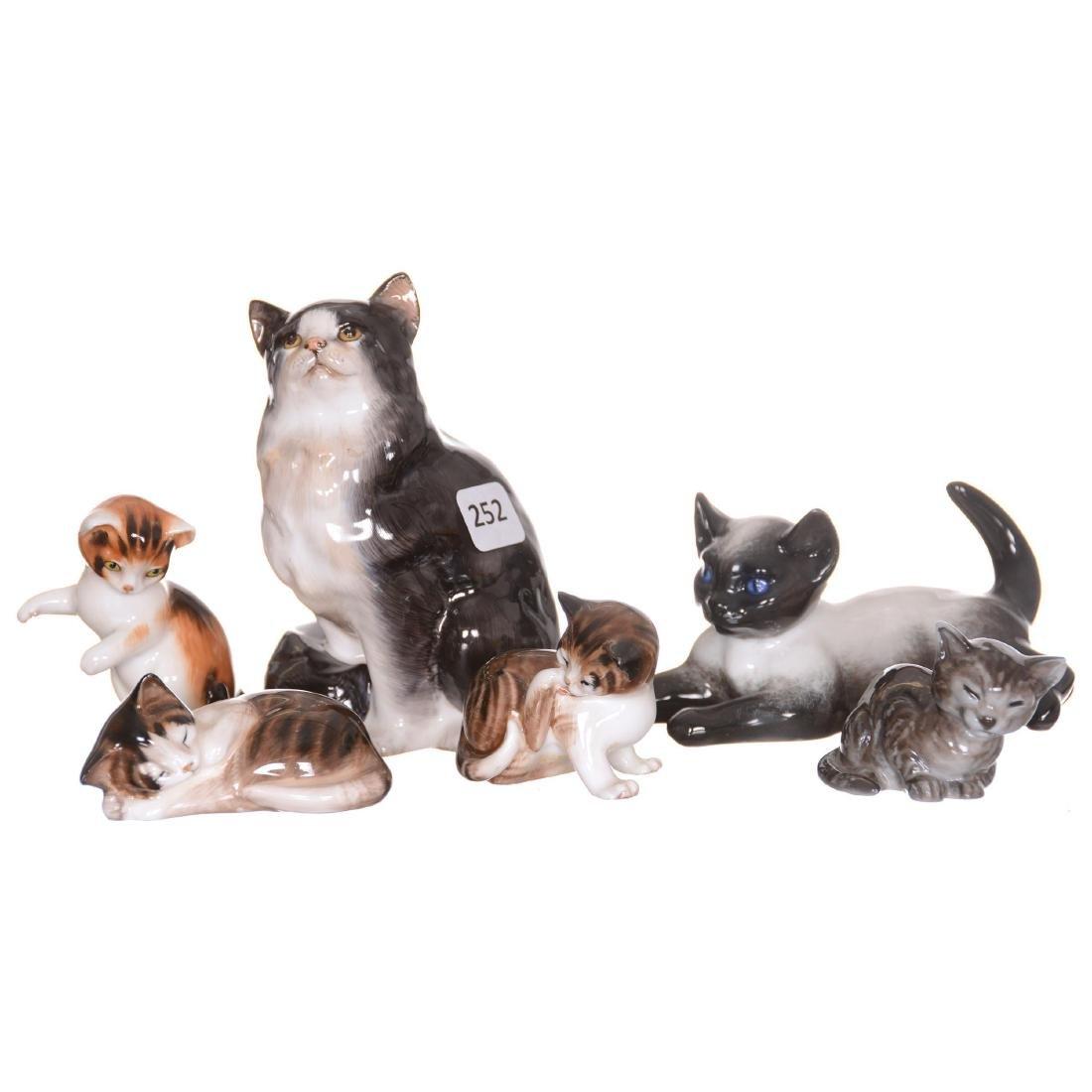 (6) Cat and Kitten Figurines
