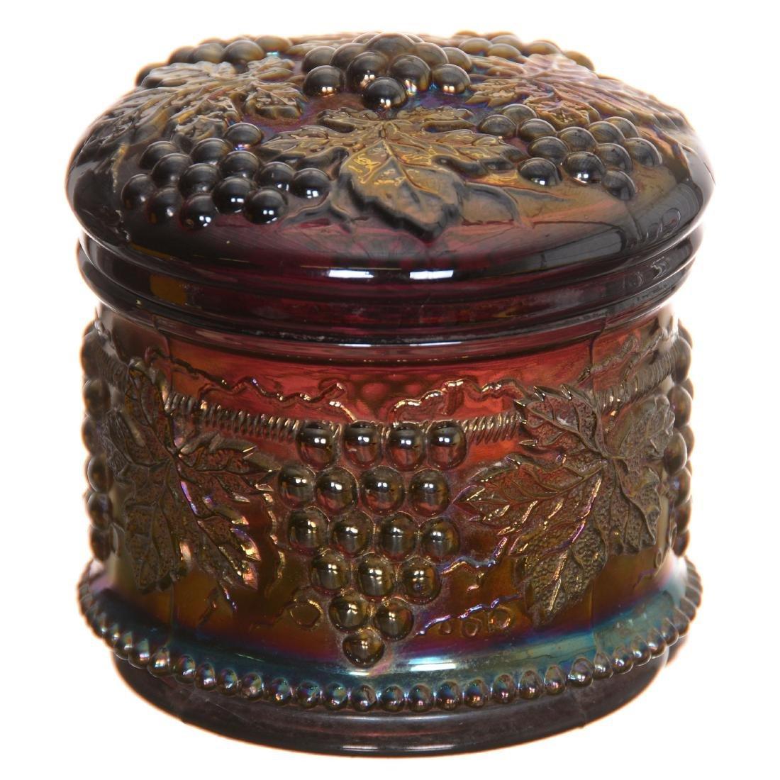 Carnival Glass Powder Box