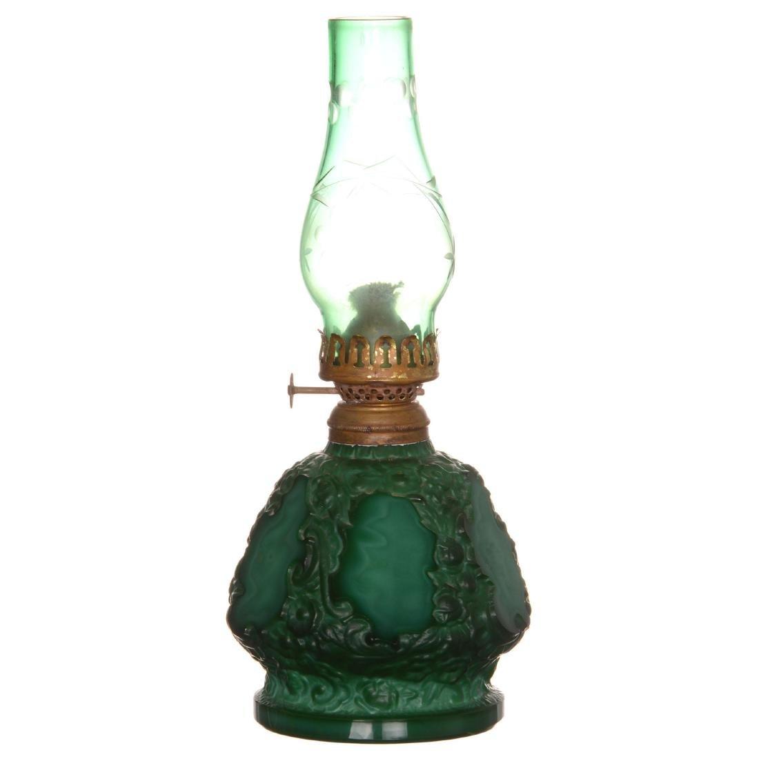 Malachite Art Glass Kerosene Lamp