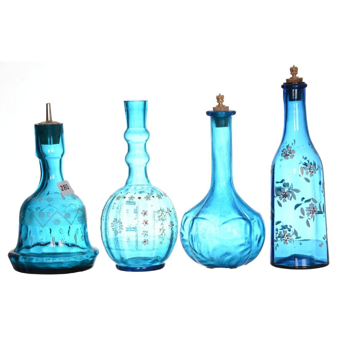 (4) Art Glass Barber Bottles