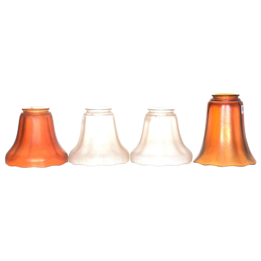 (4) Marked Nu-Art Carnival Glass Shades