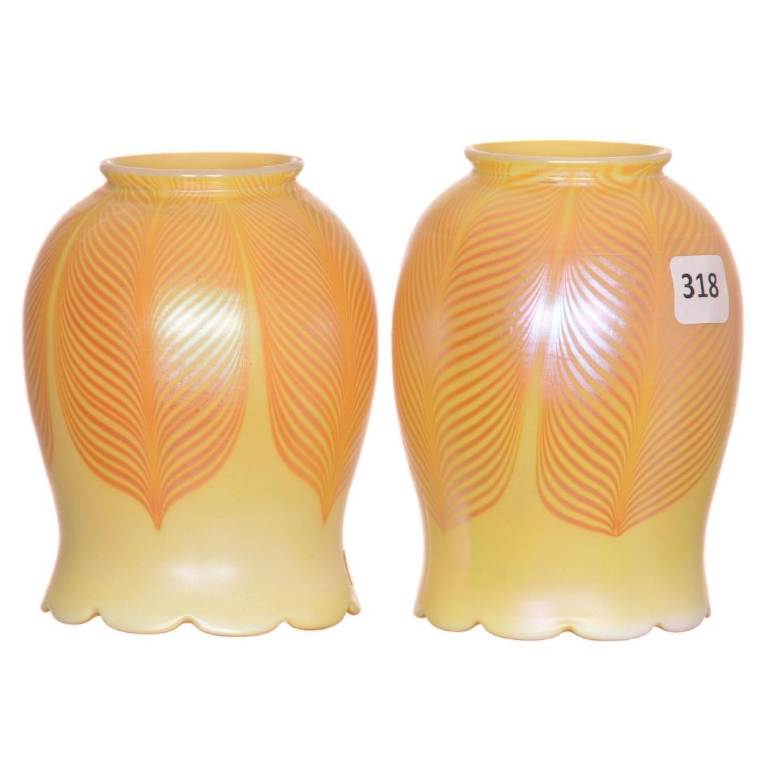 (2) Art Glass Lamp Shades
