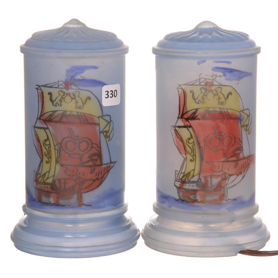 Pair Art Glass Cylinder Boudoir Lamps