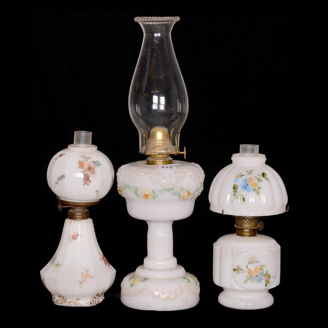 (3) Milk Glass Lamps
