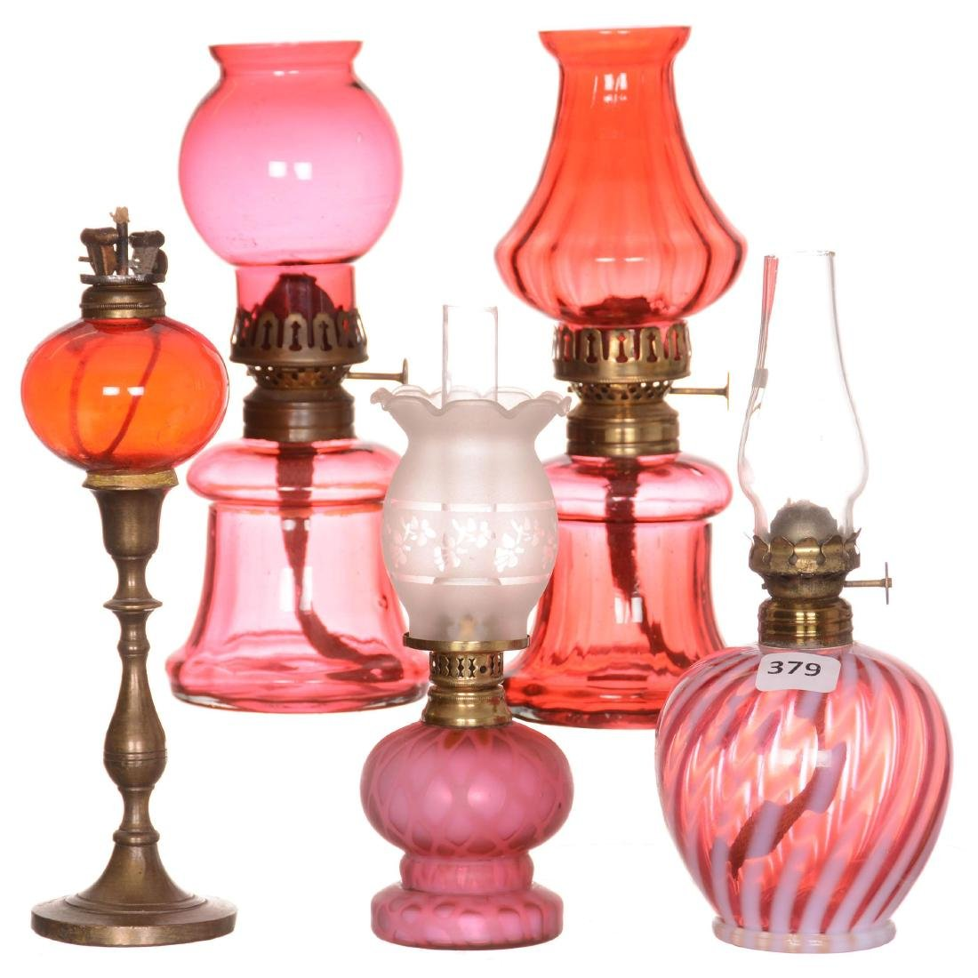 (5) Cranberry Art Glass Miniature Lamps