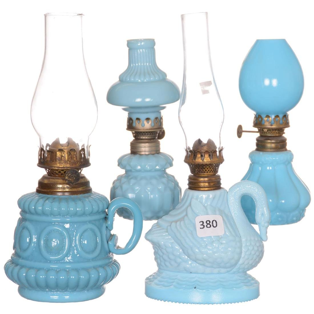 (4) Miniature Art Glass Lamps