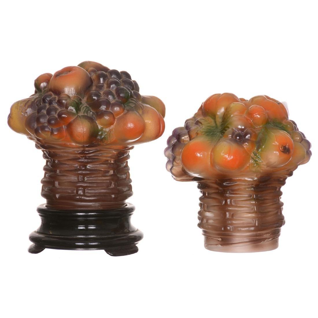 Figural Art Glass Basket of Fruit Lamp