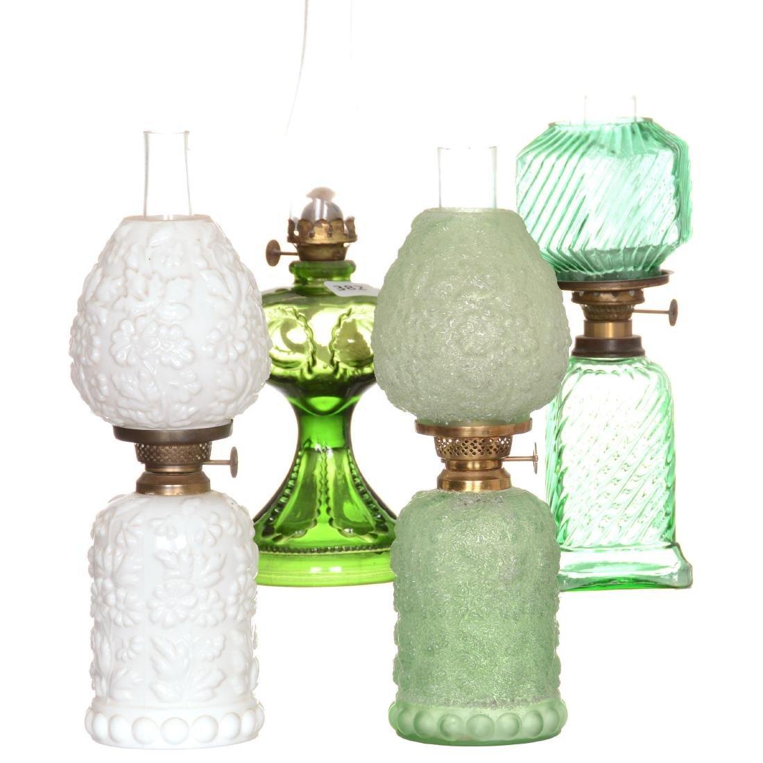 (4) Miniature Art Glass Lamps