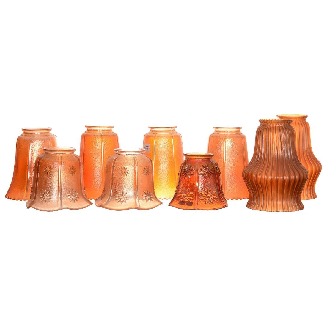 (9) Carnival Glass Lamp Shades