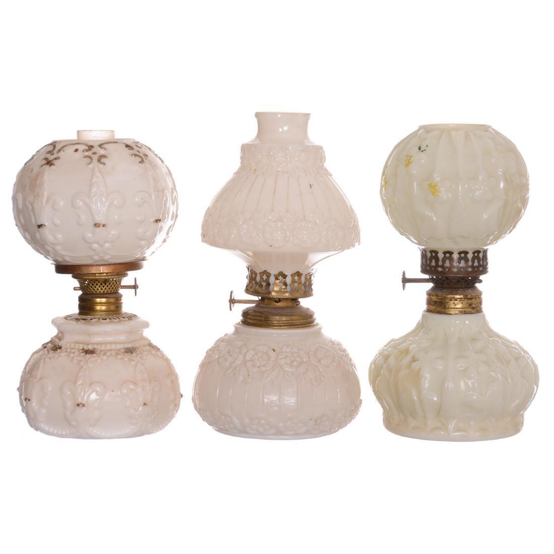 (3) Miniature Milk Glass Lamps