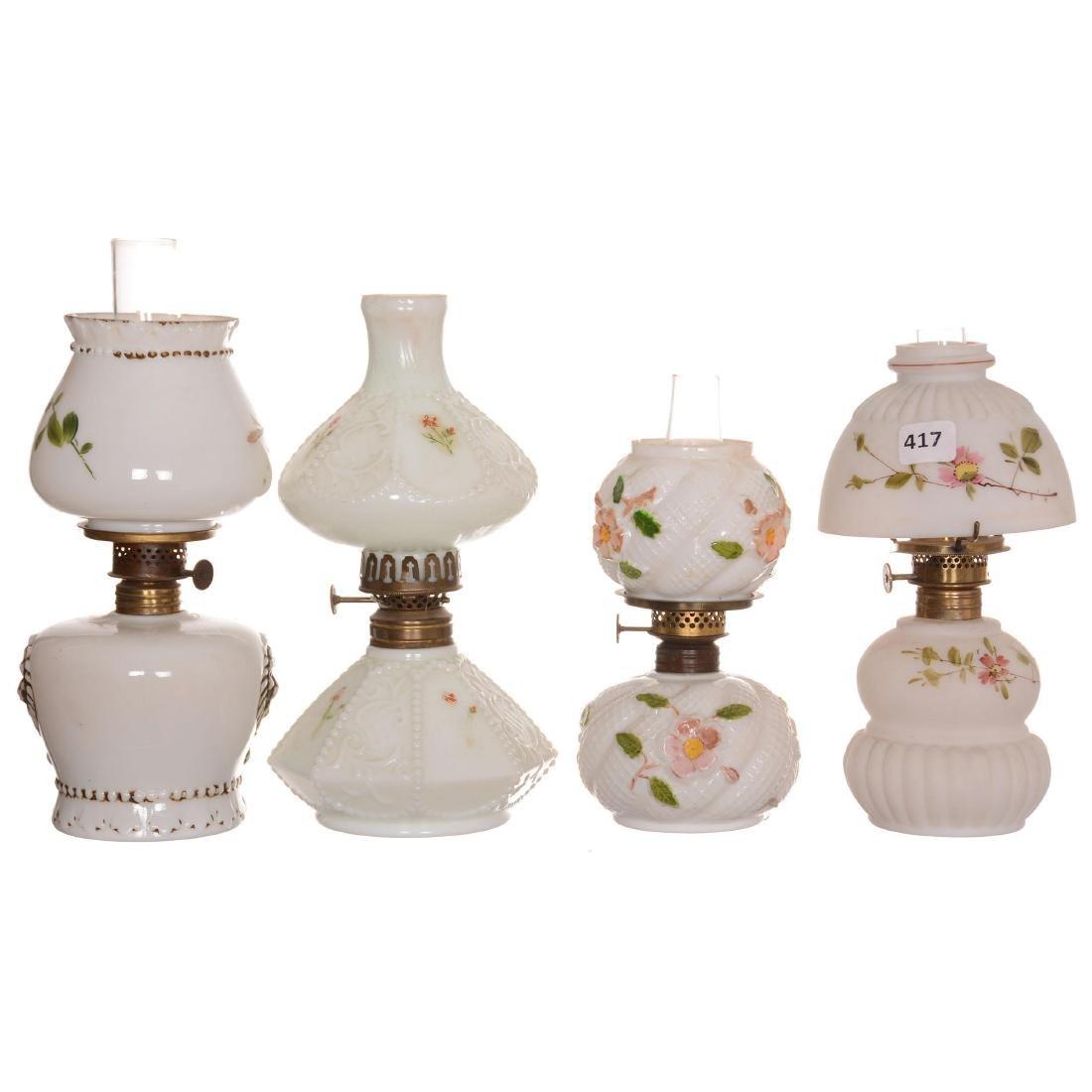 (4) Miniature Milk Glass Lamps