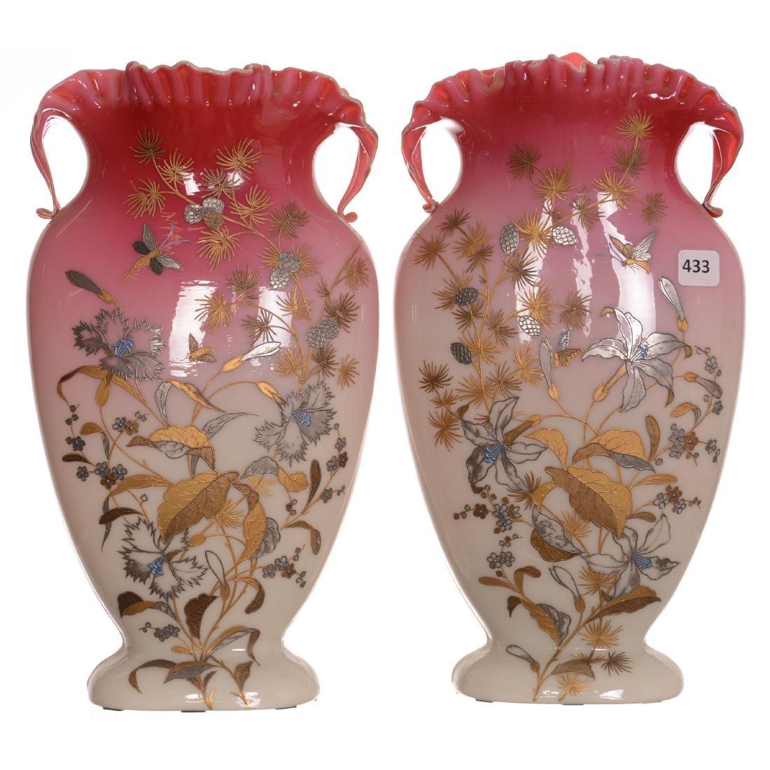 Pair Peachblow Art Glass Vases