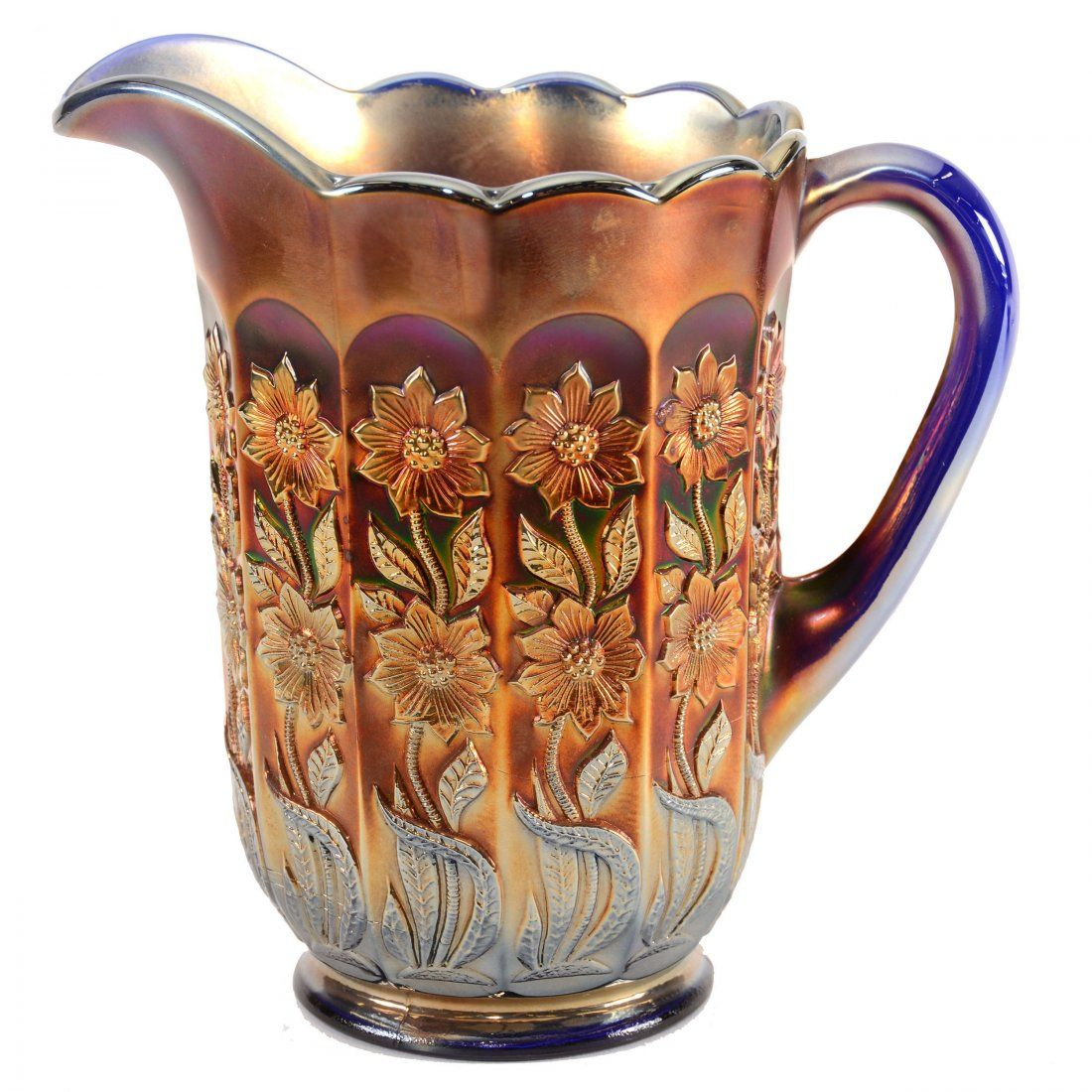 """Carnival Glass Water Pitcher - 8.25"""""""