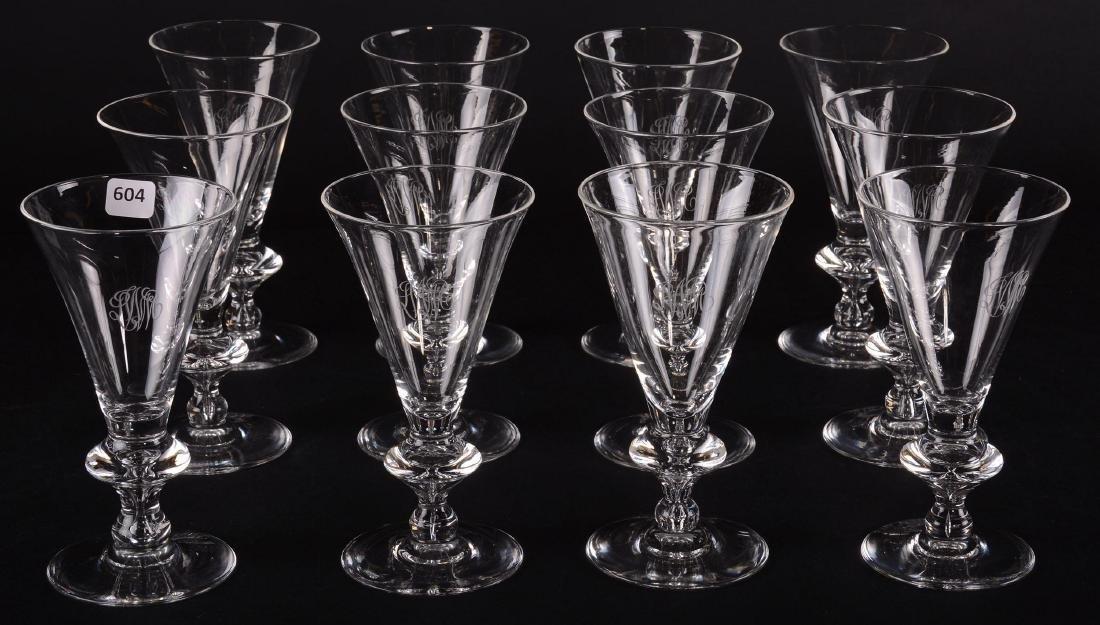 """(12) Water Goblets - Signed Steuben - 7.25"""" - 7"""