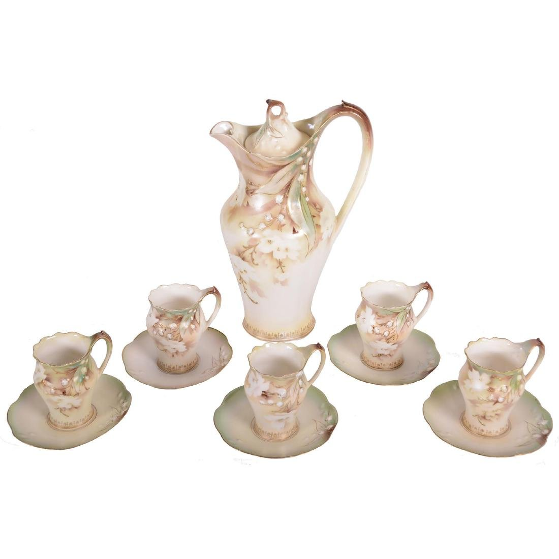 """Chocolate Set - Unmarked Prussia - 9.5"""" Pot"""