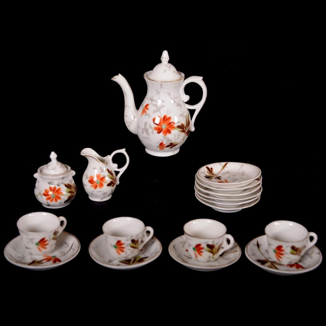 """Child's Tea Set - Unmarked Germany - 5"""" Pot -"""