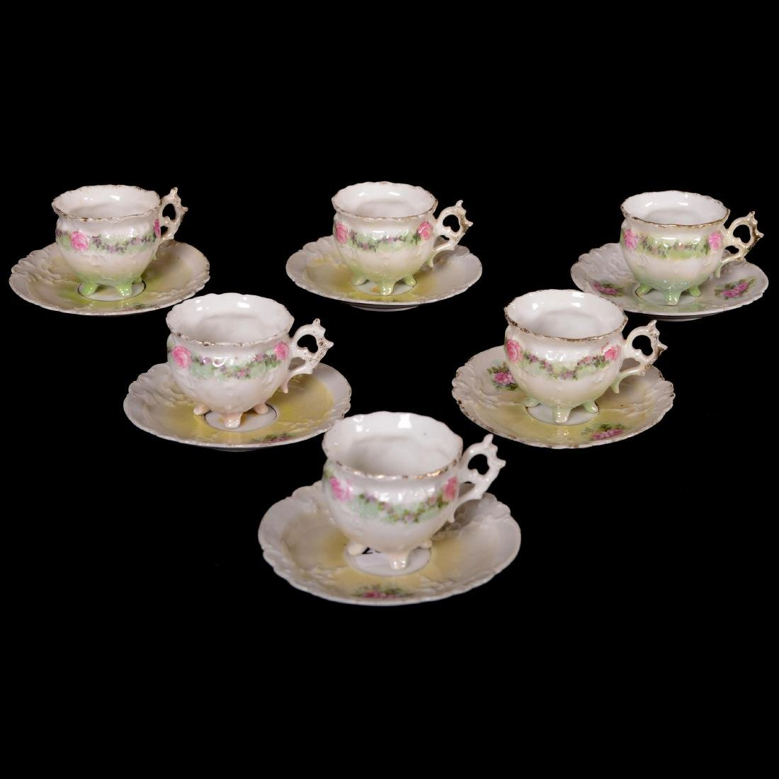 (6) Demitasse Cups and Saucers - Unmarked Prussia