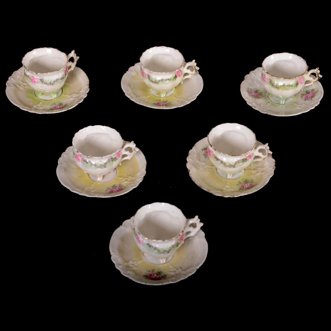 (6) Demitasse Cups and Saucers - Unmarked Prussia - 2