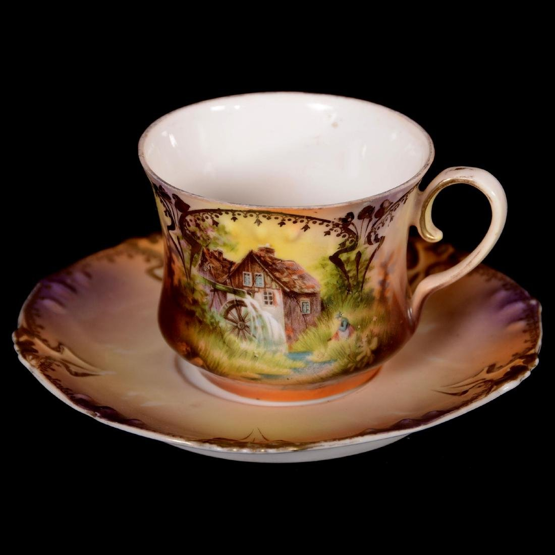 "Coffee Cup & Saucer - Marked R.S. Prussia - 2.5"" X 5"""