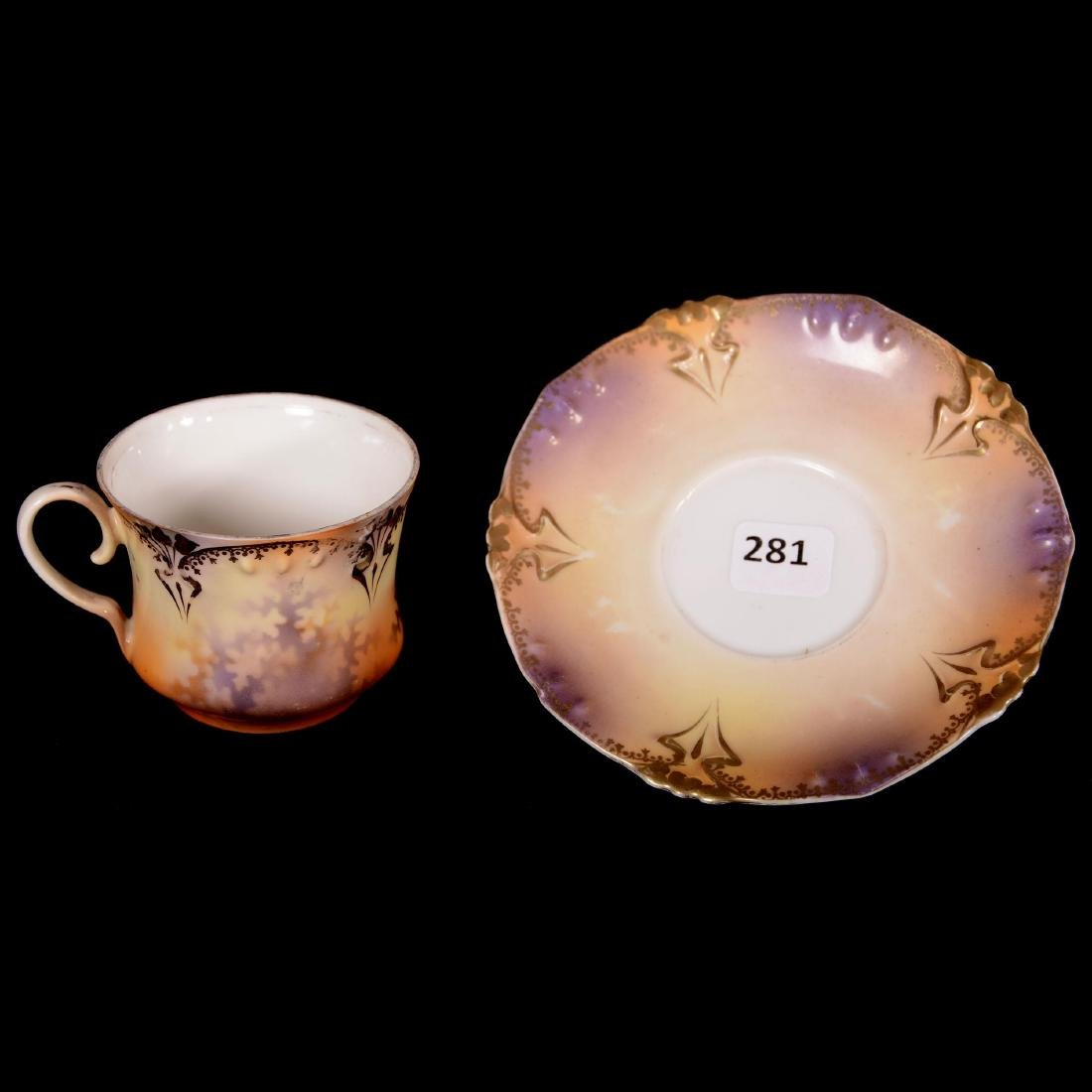 "Coffee Cup & Saucer - Marked R.S. Prussia - 2.5"" X 5"" - 2"