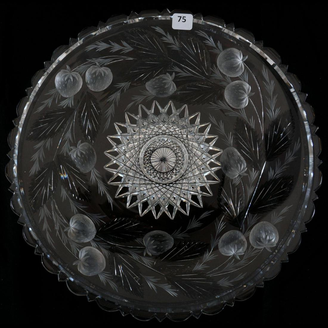 """Round Tray - 13.5"""" - Signed Hawkes Gravic Glass"""